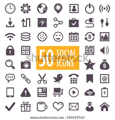 Set of 50 vector social and media icons - stock vector