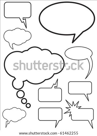 Set of vector speech and thought bubbles. Easy to edit.