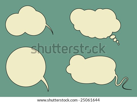 Set of vector speech bubbled with space for your text - stock vector