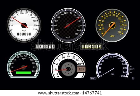 set of vector speedometer and counter - stock vector