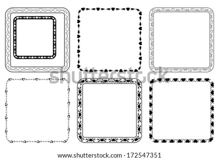 set of vector square frames for valentine day