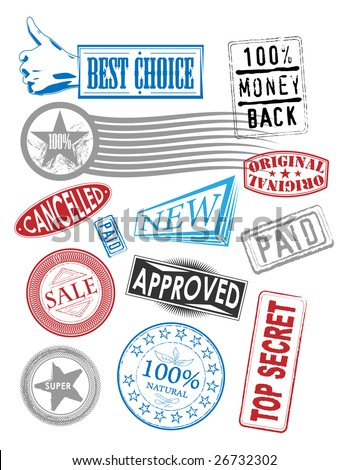 set of vector stamps with various tags - stock vector
