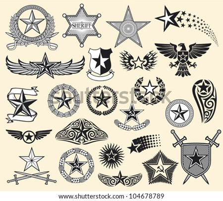 set of vector stars (star collection) - stock vector