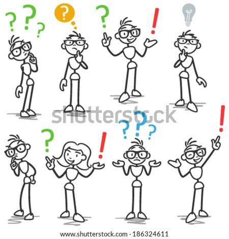 Set of vector stick figures: Stickman with question marks, asking, wondering, pondering. - stock vector