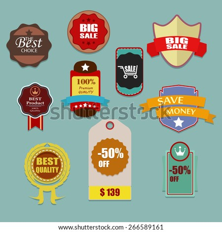 Set of vector stickers and ribbons with sale topic