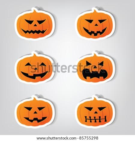 Set of vector stickers. Pumpkins for Halloween. - stock vector