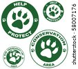 Set of vector stickers with conservation theme and an animal paw outline - stock vector
