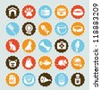 Set of vector stickers with pet icons - dog and cat equipment - stock photo