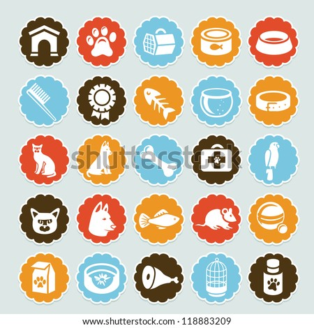 Set of vector stickers with pet icons - dog and cat equipment - stock vector