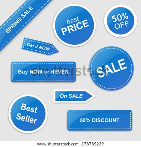 Set of vector stickers with Sale theme - blue