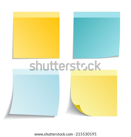 Set of vector sticky notes on white - stock vector