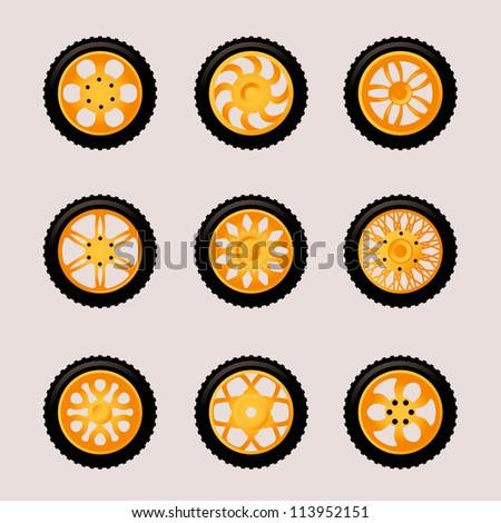 Set of 9 Vector  Stylish Wheels for Car Design - stock vector