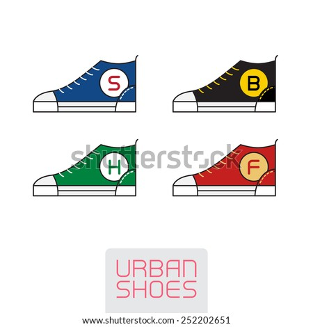 Set of Vector Stylized sneakers. Outline urban shoes. Sport icon, design element or logo in line style. - stock vector