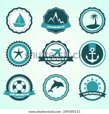 Set Of Vector Summer Badges Contain Holiday Travel And Vacation Icons