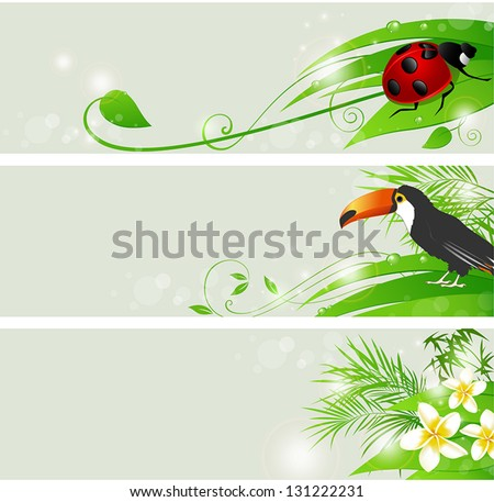 Set of vector summer banners with flowers and green leaves - stock vector