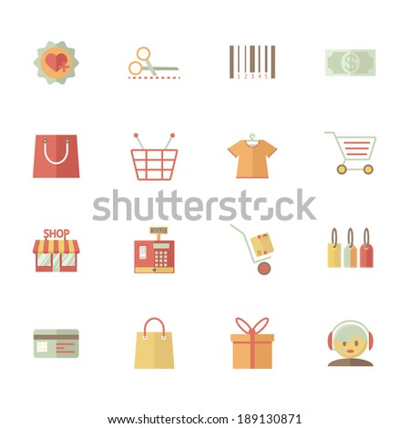 Set of vector supermarket services and shopping icons with bar code  tags  merchandise money bank card delivery till payment call centre customer services gift bag basket and trolley