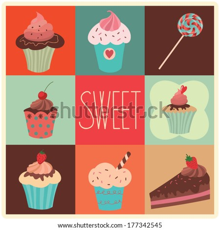 Set of vector sweet cupcakes, cake and lollipop