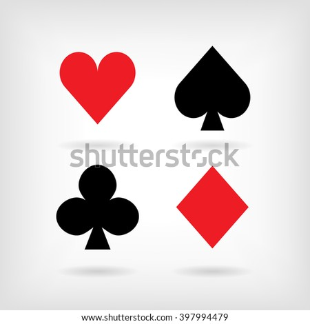 Set of vector symbols of playing cards suit with shadows. Vector illustration - stock vector
