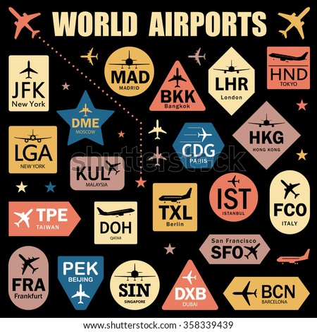 Set of Vector Tags with World Airport Codes. Mix of Airplane Icons, Stars and Colorful Labels. Vector Illustration for Travelers: Famous Airport Abbreviations on Black - stock vector