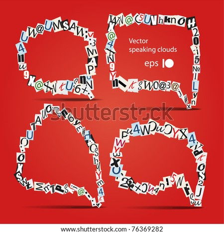 Set of vector talk bubbles of letters from newspaper and magazines - stock vector