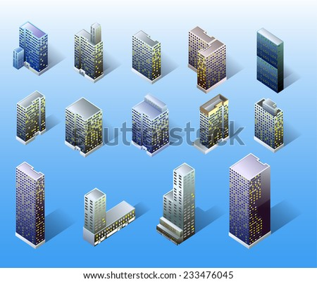 Set of vector tall buildings and skyscraper. detailed isometric illustration - stock vector