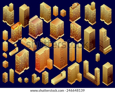 Set of vector tall buildings isometric - stock vector