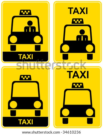 Set of vector taxi signs.  - stock vector