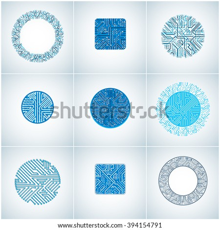 Set of vector technology cpu designs with square and circular blue microprocessor schemes. Computer circuit boards, digital elements. - stock vector