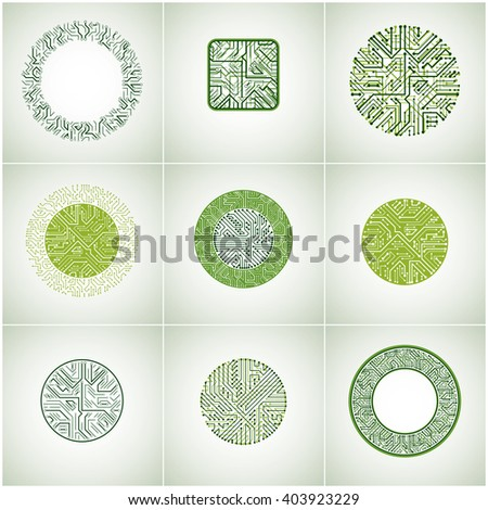 Set of vector technology cpu designs with square and circular green microprocessor schemes. Computer circuit boards, digital elements. - stock vector