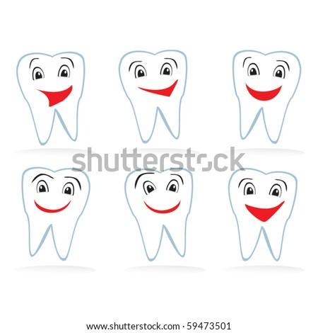 Set of vector teeth - stock vector