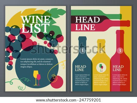 Set of vector template for brochure, flyer, poster, wine list, menu. Colorful flat illustration background of bottle, glass, branch of grape with leaves with place for text.  - stock vector