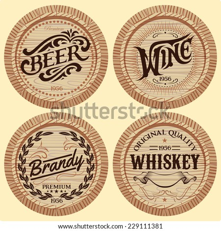 set of vector template wooden barrels for alcoholic beverages - stock vector