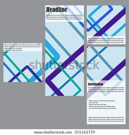 Set of 4 vector templates for brochures, flyers or business reports. Abstraction with colored lines on a blue background
