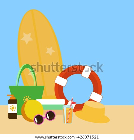 set of vector templates for PR and invitations - beach accessories: towels, bag,  rubber ring, orange juice, hat, sunglasses, ice cream, swimsuit, surfboard, sea, summer