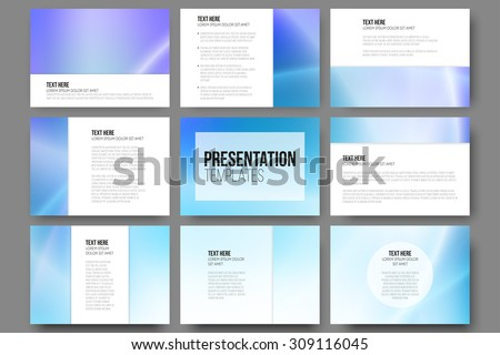 Set of 9 vector templates for presentation slides. Blue abstract design vector background. - stock vector