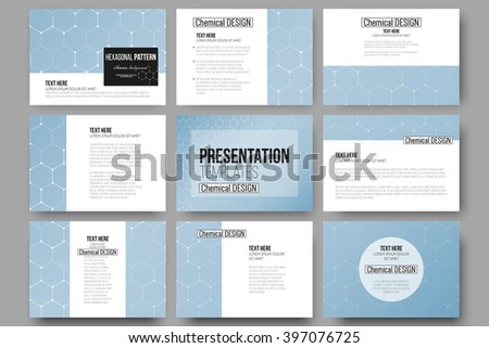 Set of 9 vector templates for presentation slides. Chemistry pattern, hexagonal design vector illustration - stock vector