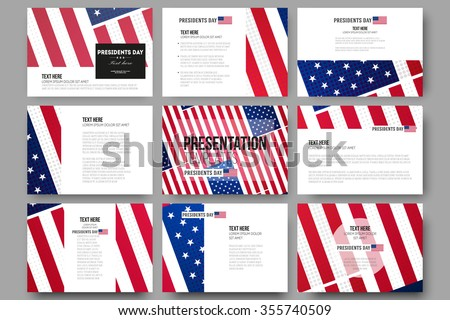 Set of 9 vector templates for presentation slides. Presidents day background, abstract poster with american flag, vector illustration - stock vector