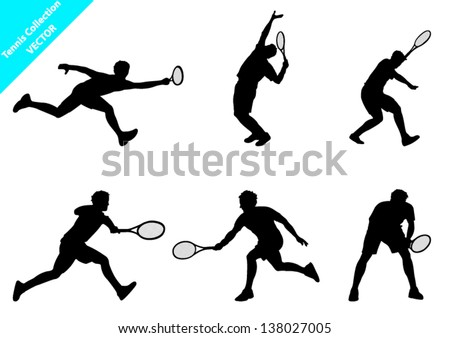 Set of Vector Tennis player Silhouettes - stock vector