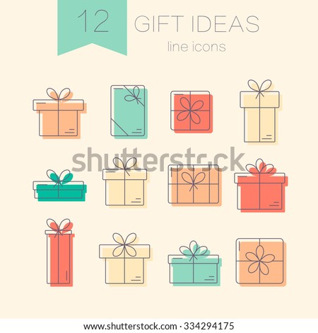 Set of vector thin line color icons of gift boxes. Concept for gift wrapping, cards, celebrations logo.