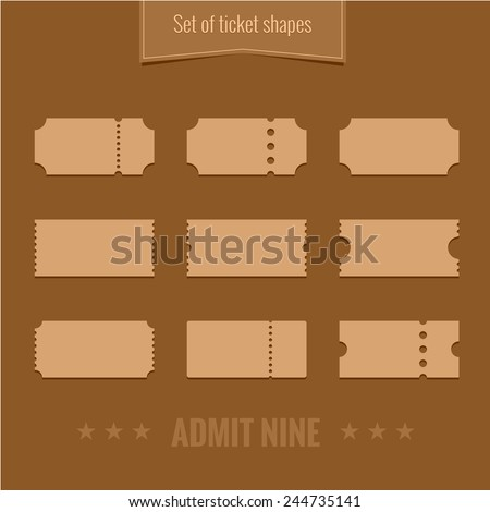 Set of vector ticket shape silhouettes template - stock vector