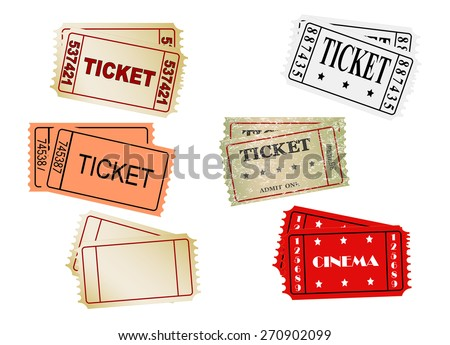 set of vector  tickets, vector, eps 10 - stock vector