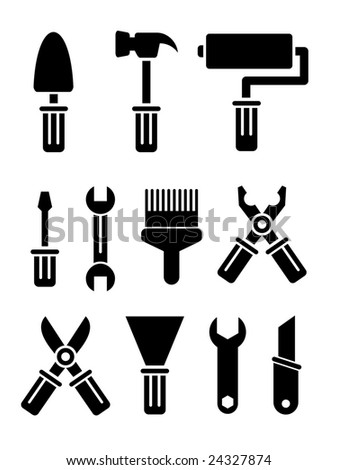 Set of vector tools on white background