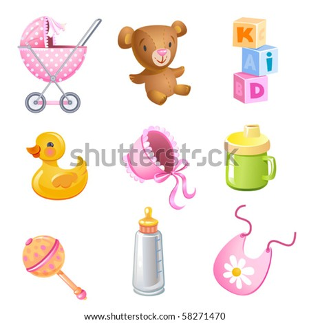 Set of 9 vector toys and accessories for baby girl. - stock vector
