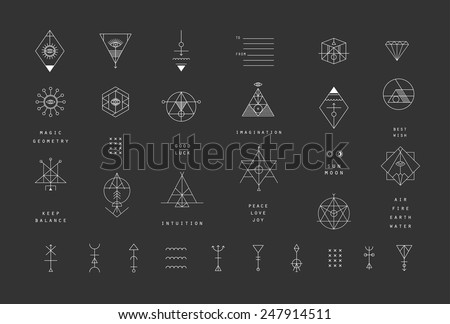 Set of vector trendy geometric icons. Alchemy symbols collection. Religion, philosophy, spirituality, occultism. - stock vector