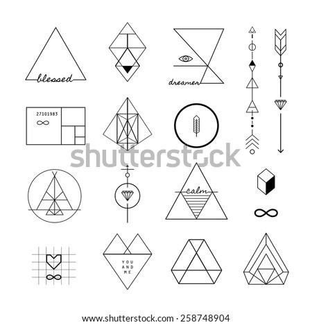 Set Vector Trendy Geometric Icons Logotypes Stock Vector 258748904