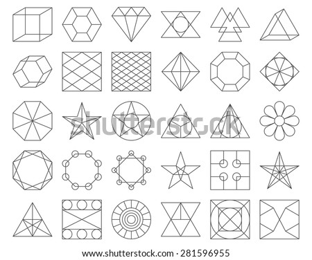 Set of vector trendy geometric icons. Vector illustration set of 30 linear figures - stock vector