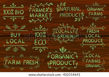 Set of VECTOR typographic elements. Farmers market, farm fresh eco food. Hand-drawn set on white background. Green lines.  - stock vector