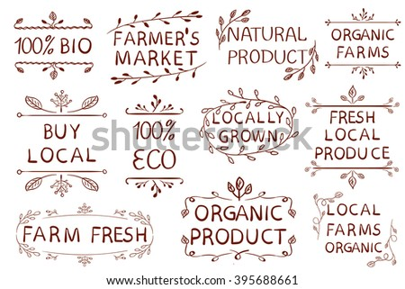 Set of VECTOR typographic elements. Farmers market, farm fresh eco food, local produce. Hand drawn set. Brown lines on white background.  - stock vector