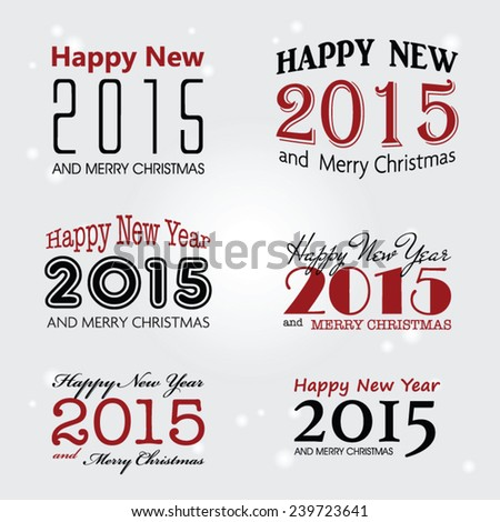 Set of vector typographic elements - Happy new year 2015, vector illustration - stock vector