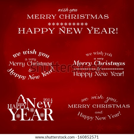 Set of vector typographic elements - Merry Christmas and happy new year - stock vector